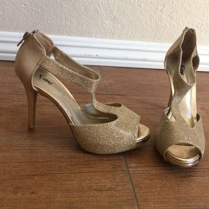 Gold Sparkly heels wedding Payless Fioni Night